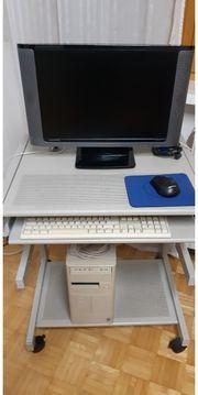 Computer- Monitor- Maus- Tastatur- Computertisch