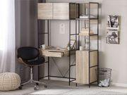 Schreibtisch heller Holzfarbton schwarz 81