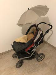 Teutonia Kinderwagen mit Lammfell und