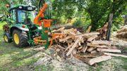 Brennholz aufarbeiten Sägen Spalten