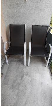 2 Terrassenstühle Aluminium Schwarz Weiß