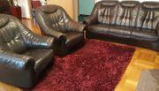 Echtleder Couch mit 2 Sesseln