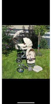Kinderwagen-Stokke Trailz-beige-braunes Leder