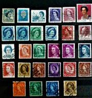 Briefmarken Queen England Australien Kanada