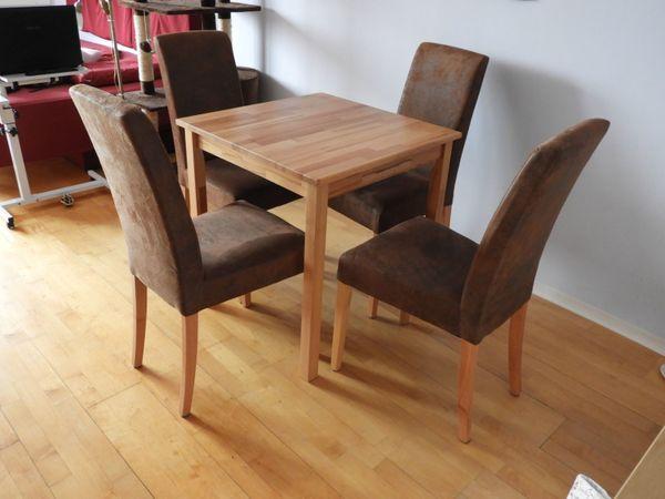 Elegante Esstischgruppe Massivholz 4 Stühle
