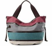 Mehrfarbige Canvas-Hobo-Tasche Handtasche Schultertasche lässig