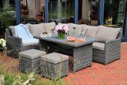 Polyrattan Gartenmöbel - Sofa-Set - grau
