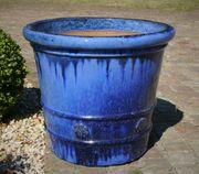 großer blauer Blumentopf Ton lasiert
