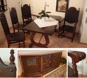 Spanisch-antike Essecke 6 Stühle Tisch