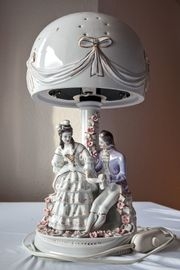 Lampe Porzellan Tischlampe - Tischbeleuchtung - Barock