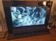 Moderne TV Wand Matt Grau