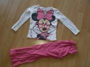 Mädchen Schlafanzug weiß rosa Minnie