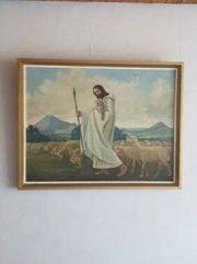 Altes Bild Holz gold Jesus