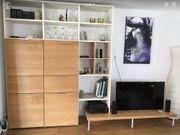 Wohnzimmerwand modern weiß Nussbaum