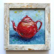 Kleine Teekanne Ölgemälde Vintage Rechteckiger
