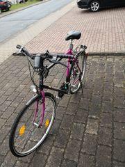 Fahrrad schwarz lila Hopp