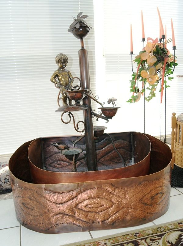 Zierbrunnen Zimmerbrunnen aus Kupfer Handarbeit