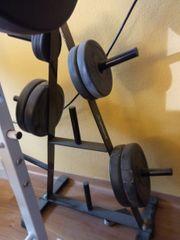 Hantelbank mit Gewichten Ständer u