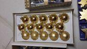 15 Christbaumkugeln gold Baumanhänger Christbaumspitze