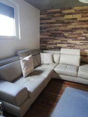 Echtleder-Couch beige