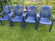 4 Gartenstühle blau aus Kunststoff