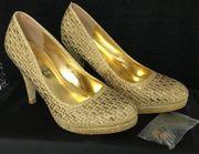 Damen Golden Hoch Schuhe