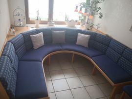 Speisezimmer, Essecken - Eckbankgruppe blau mit Tisch und