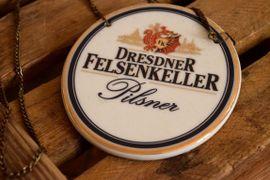 Restposten, gewerblich - Zapfhahnschild Dresdner Felsenkeller Keramik Alt