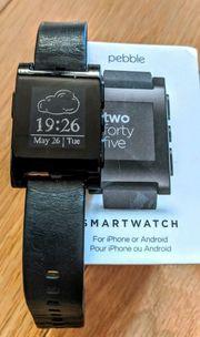 Pebble SMARTWATCH Uhr mit Lederarmband -