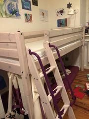 Marken Hochbett Spielbett weiß lila