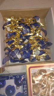 35 Weihnachtskugeln blau gold Anhänger