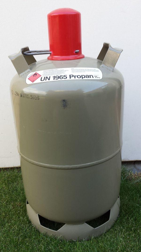 Propan-Gasflasche 11kg, grau, leer, Eigentums- Nutzungsflasche