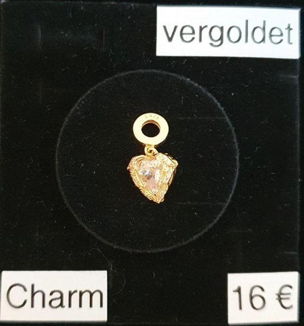 Echt Silber vergoldet Charm Herz