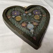 Reliefbild aus Wachs mit Blumenvase