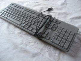 Eingabegeräte (Mäuse, Tastaturen etc.) - USB Tastatur Keyboard grau Dell