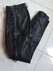 Motorradhose mit Schnüre - Lederhose - Schwarz
