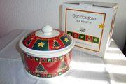 Gebäckdose aus Keramik mit Weihnachtsmotiv