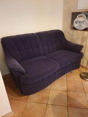 Sofa Couch mit Schlaffunktion dunkelblau