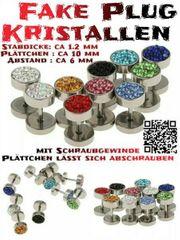 Edelstahl Kristall Fake Plugs Ohrstecker