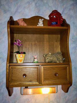Schränke, Sonstige Schlafzimmermöbel - Wandregal Eiche massiv Rustikal inkl