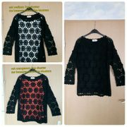 Pullover mit Lochmuster schwarz Größe