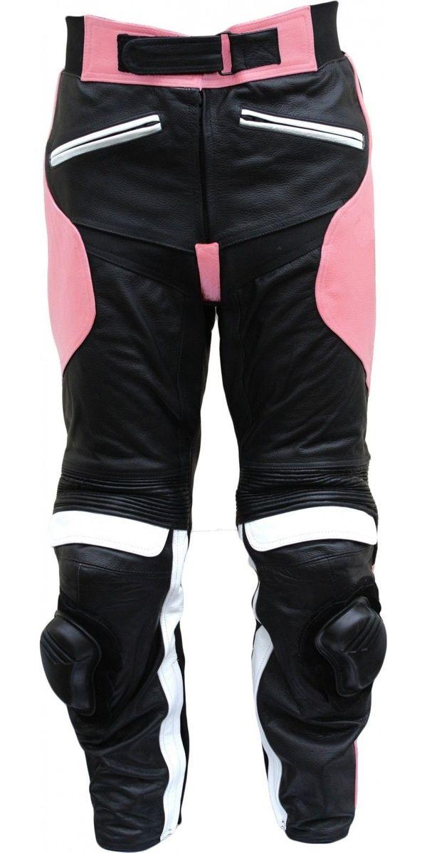 Damen Motorradhose Rindsleder schwarz pink