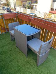 Balkonmöbel Set Rattan Tisch mit
