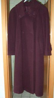 Bordeauxfarbener zweireihiger Mantel Gr 40