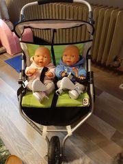 Zwillings Puppenwagen mit 2 Babypuppen