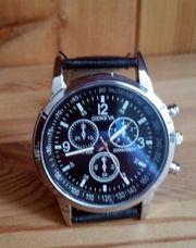 Herren Armbanduhr Geneva Silber Schwarz