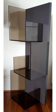 Glas-Hängeregal - Rauchglas Rückwand anthrazit matt -