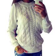 Damen-Langarm-Locker-Cardigan-Pullover-Pulli- warm L 38
