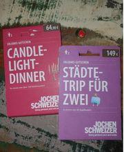 Gutscheine Candle-Light Dinner und Städtetrip