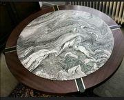 Großer runder Wohnzimmer Mahagoni Marmor